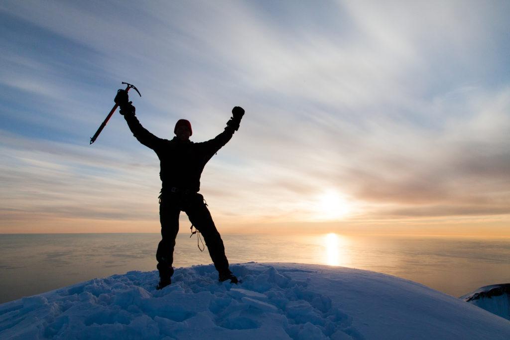 At the summit of Beerenberg, Jan Mayen