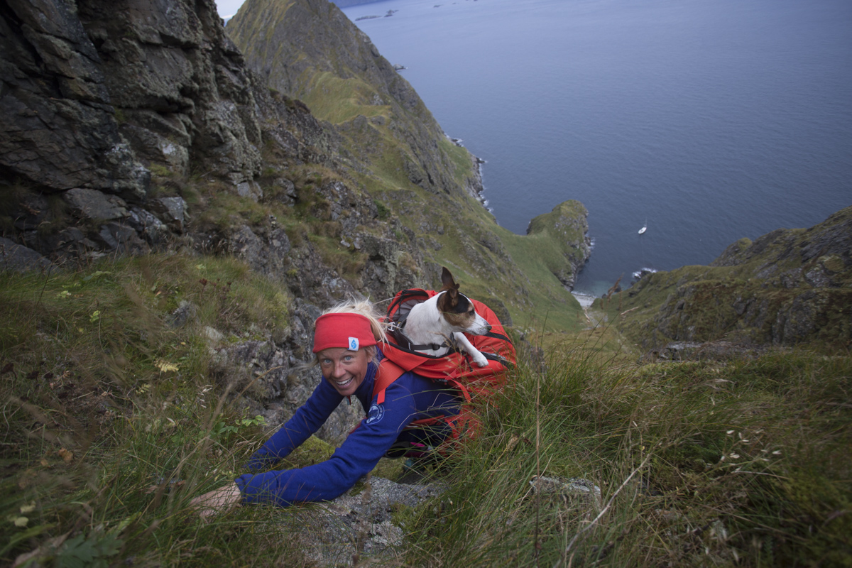 Kari and Truls climbing the Mosken island in Lofoten, Norway.
