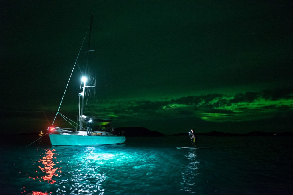 Sailing Northern lights arctic Norway.